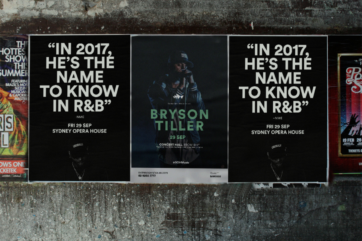 Sydney Opera House Music Campaigns - Bryson Tiller Street Posters